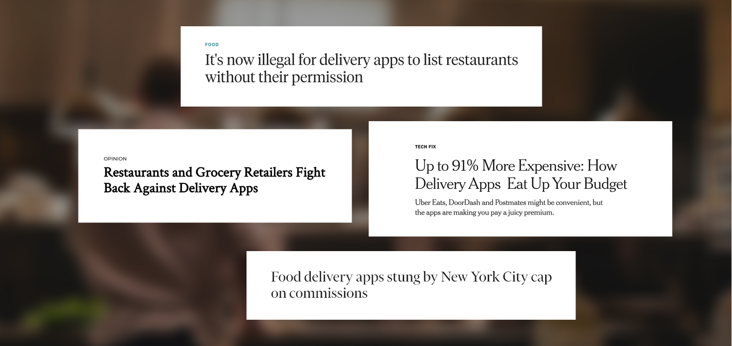 Headlines call out the bad business ethics of third-party apps as more cities move to protect small businesses and cap delivery fees.