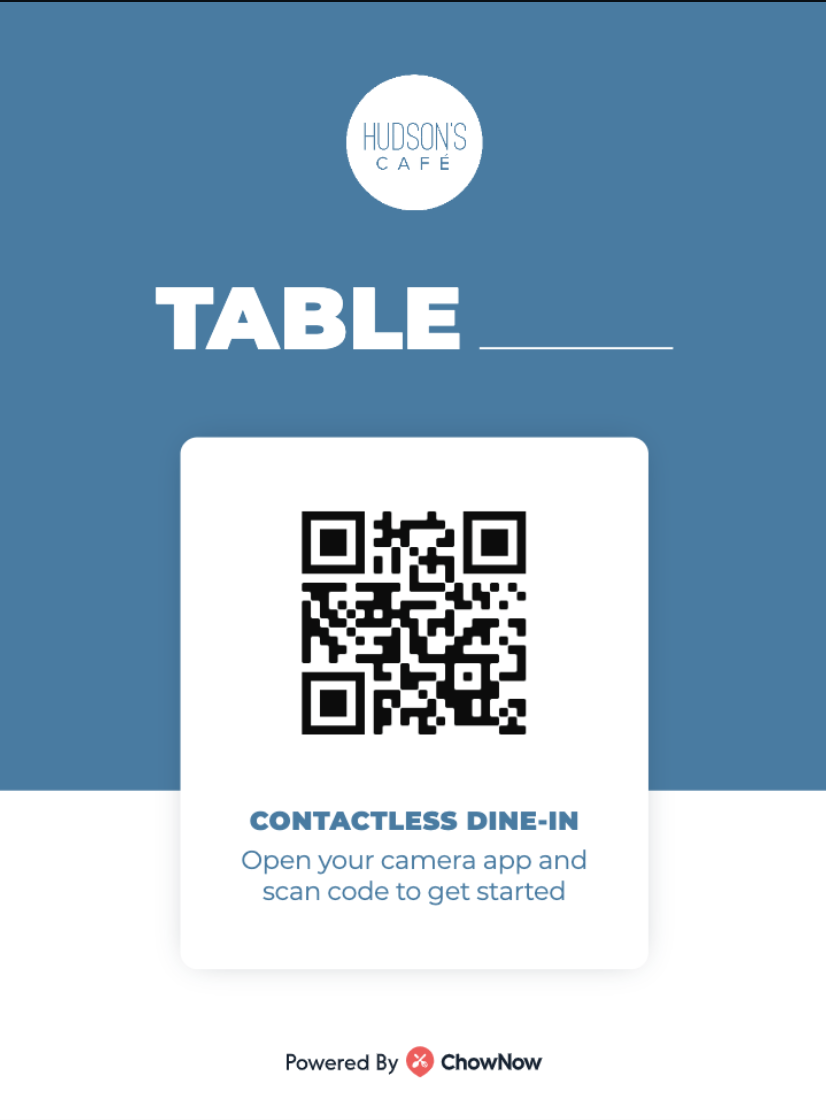 An example of a QR code table tent.
