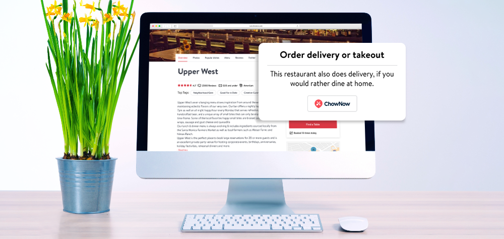 An example of OpenTable integrated ordering.