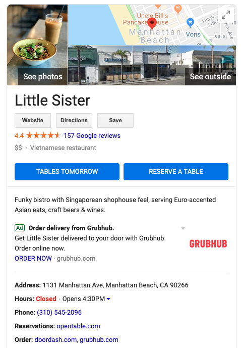 Restaurant Search Presence: Google Business Profile With Ad