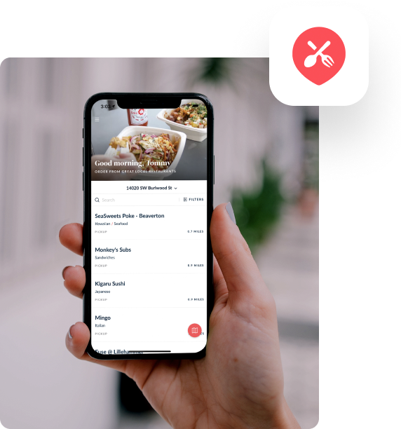 Hand holding a phone logged into the ChowNow App and an image of the ChowNow Icon