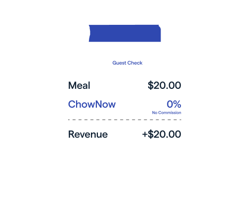 Receipt with Meal at $20, Chownow at 0%, Revenue at $20