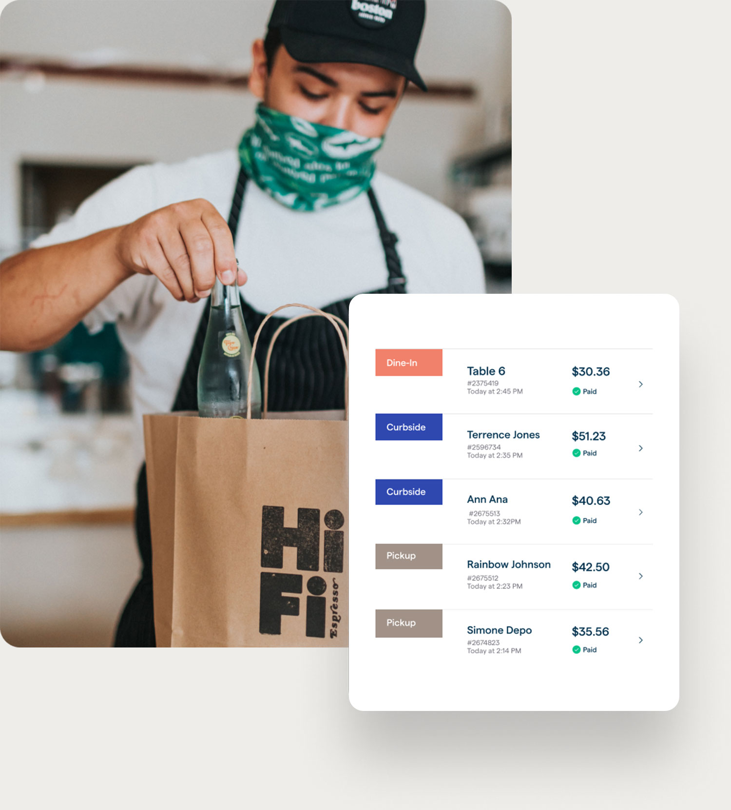 Man putting food in a delivery bag, screen showing order info on the ChowNow dashboard