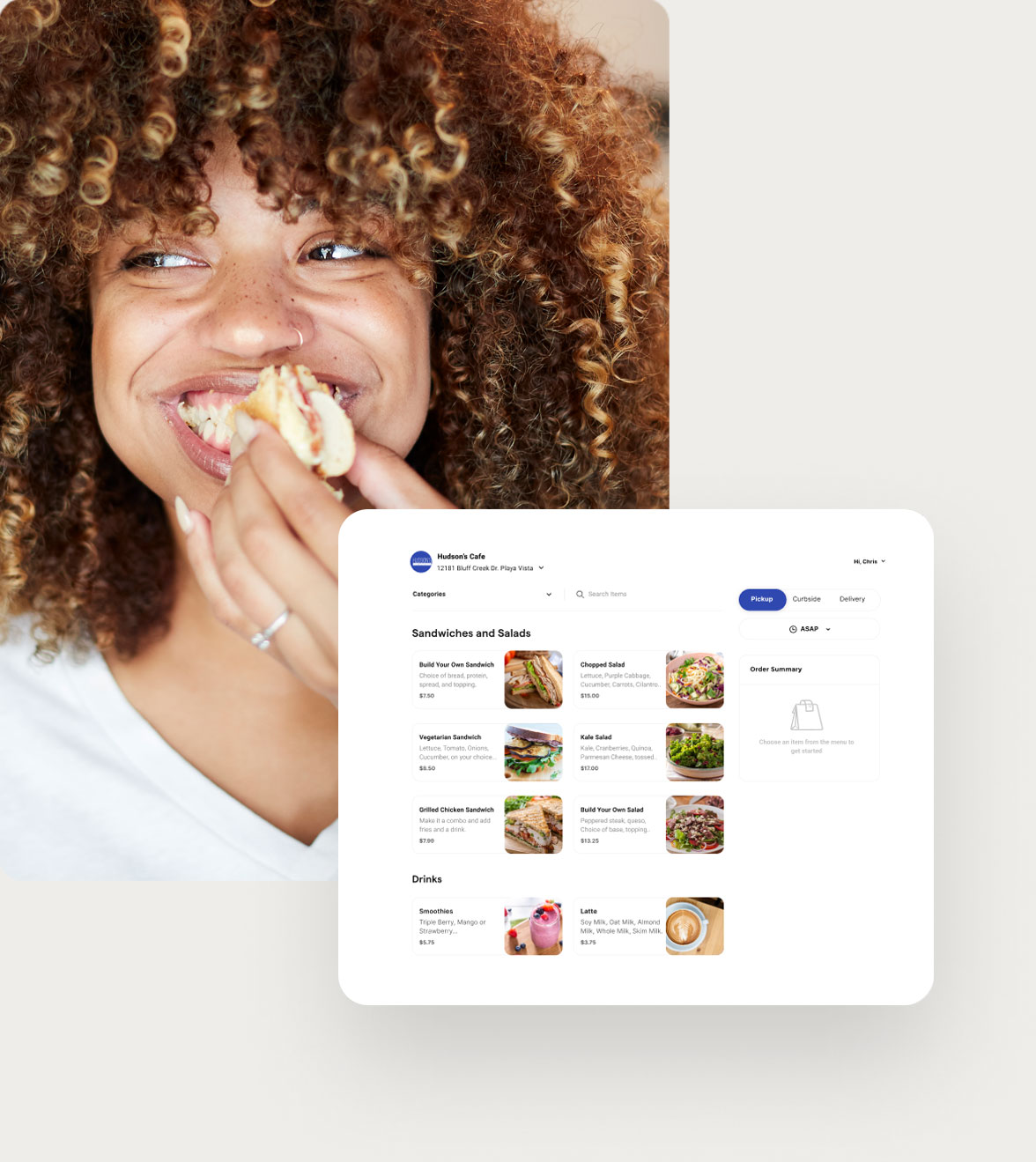 Woman eating food and a browser of the ChowNow ordering app