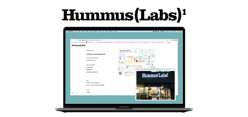 ChowNow customer, Hummus Labs website and storefront